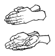 "American Sign Language Caption Sign for book"" uses ""flat"" hands"